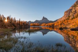 LAKE FEDERA IN DOLOMITES